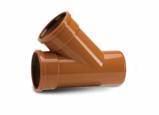 Polypipe UG406 Equal Junction Double Socket 45 Deg 110mm