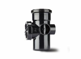 Polypipe SA43B Single Socket Access Pipe 3 Boss Black 110mm